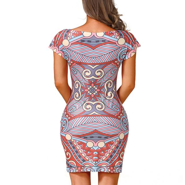 Goddess Summer Fashion Women Clohing Sexy Pencil Dress Print Short Sleeve O-Neck Sheath Dress bodycon Club Mini Casual Dress