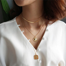 INZATT MINImalist Gold Round Square Rose Flower Pendant Necklace 925 Sterling Silver Jewelry 45CM or 55CM Chain For Women Gift