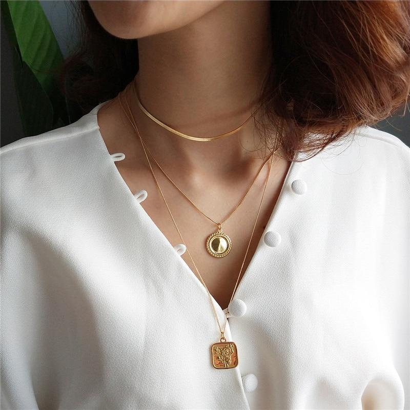 INZATT MINImalist Gold Round Square Rose Flower Pendant Necklace 925 Sterling Si