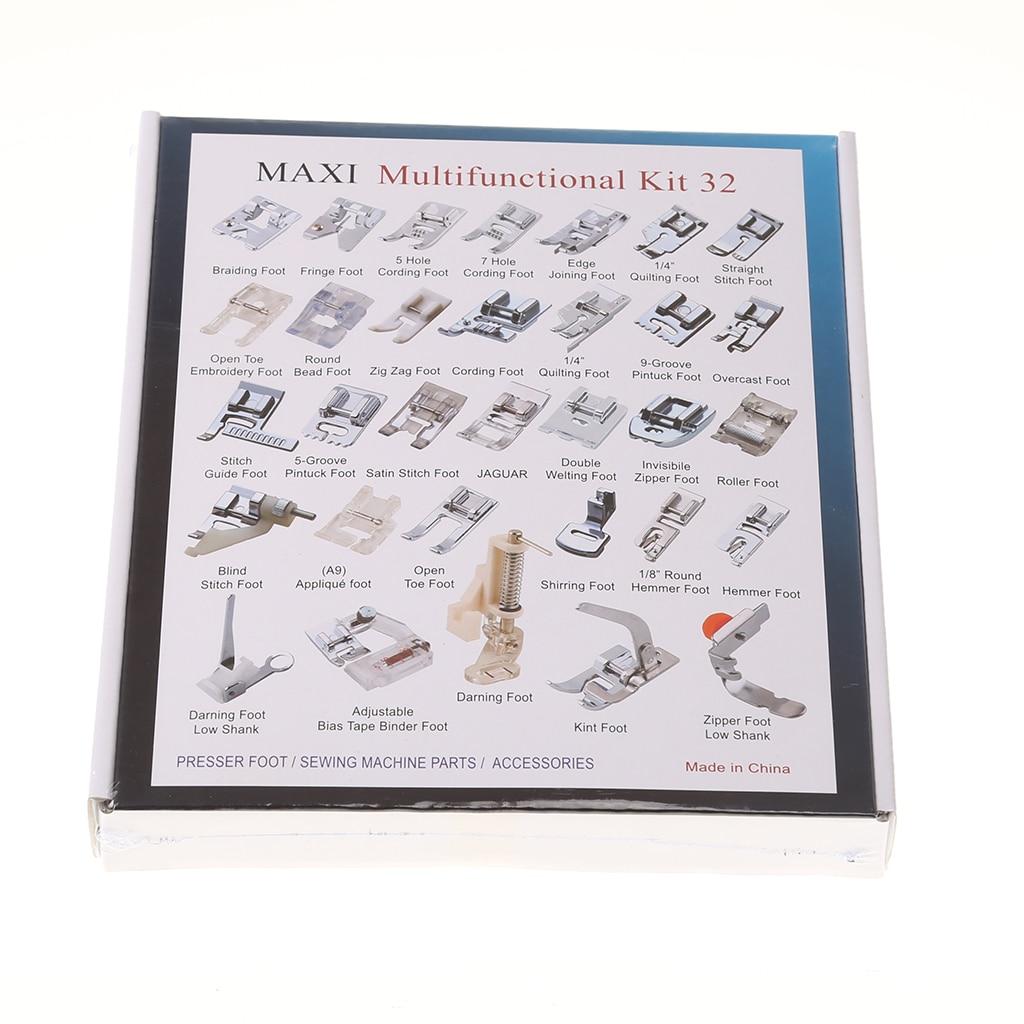 Kit de pieds presseurs pour Machine à coudre domestique de 32 pièces, avec boîte pour Brother et Singer Janom, CY-032