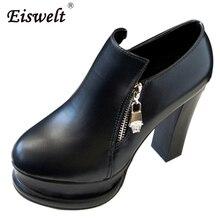 EISWELT Frauen Leder Stiefeletten Heels Mode Reißverschluss Plattform High Heels Solid Black Weiße Schuhe Damen Stiefel # ZQS112