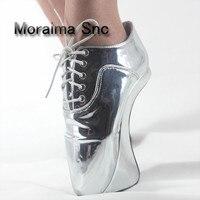 Moraima SNC золотого и серебряного цвета зеркало в необычном стиле туфли на шпильках Большие размеры 45 балетки женские 18 см Туфли лодочки на ульт