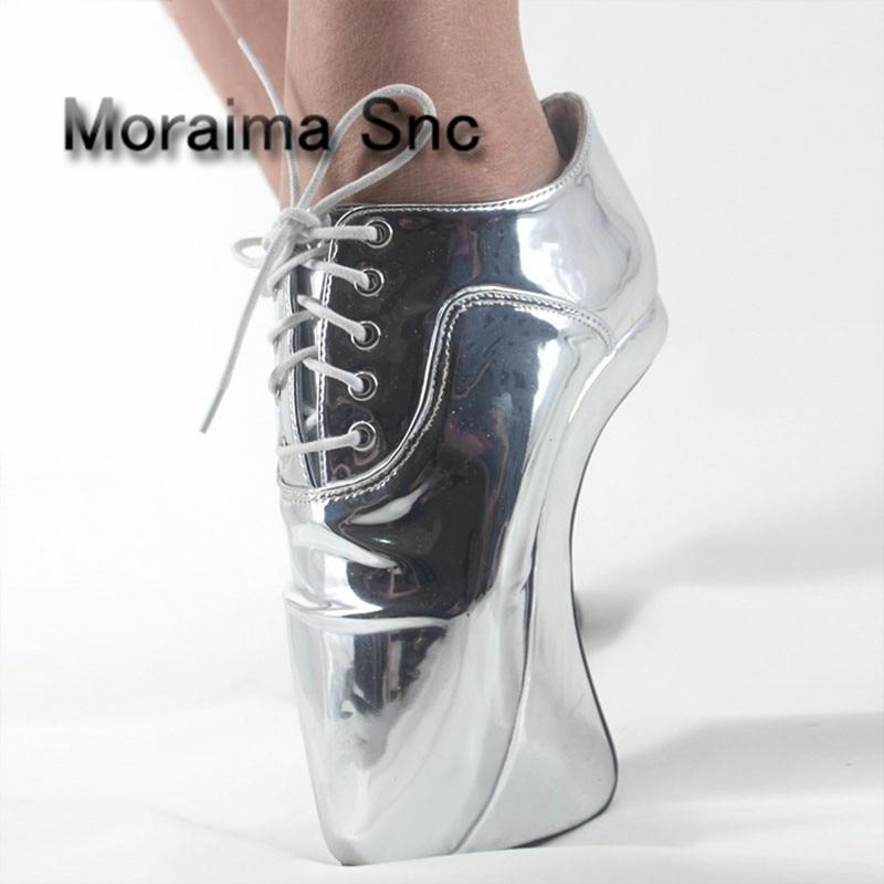 Moraima Snc gold sliver Mirror strange style stiletto shoes plus size 45 ballet shoes women 18 CM extreme high heels pumps women