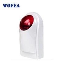 Wofea sirena de Flash estroboscópica de sonido impermeable para exteriores, inalámbrica, con alarma de 120db, sonido e iluminación de flash rojo, batería de respaldo solar