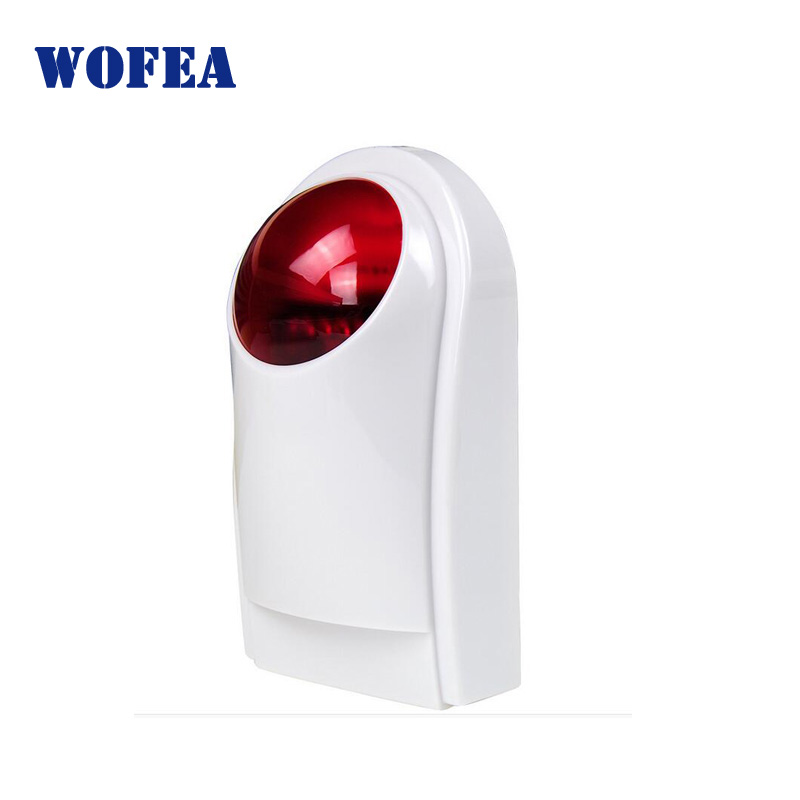 wofea Wireless Outdoor waterproof Sound Strobe Flash Siren with 120db alarm sound and red flash lighting solar back up battery