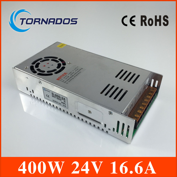 Free Shipping 400W 24V 16.6A Single Output Switching power supply dc 24v power supply for LED AC to DC smps S-400-24