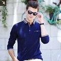 Высокое качество весна осень мужская рубашка поло бизнес повседневная твердые рубашки поло бренд мужской поло с Длинным рукавом camisa рубашки поло