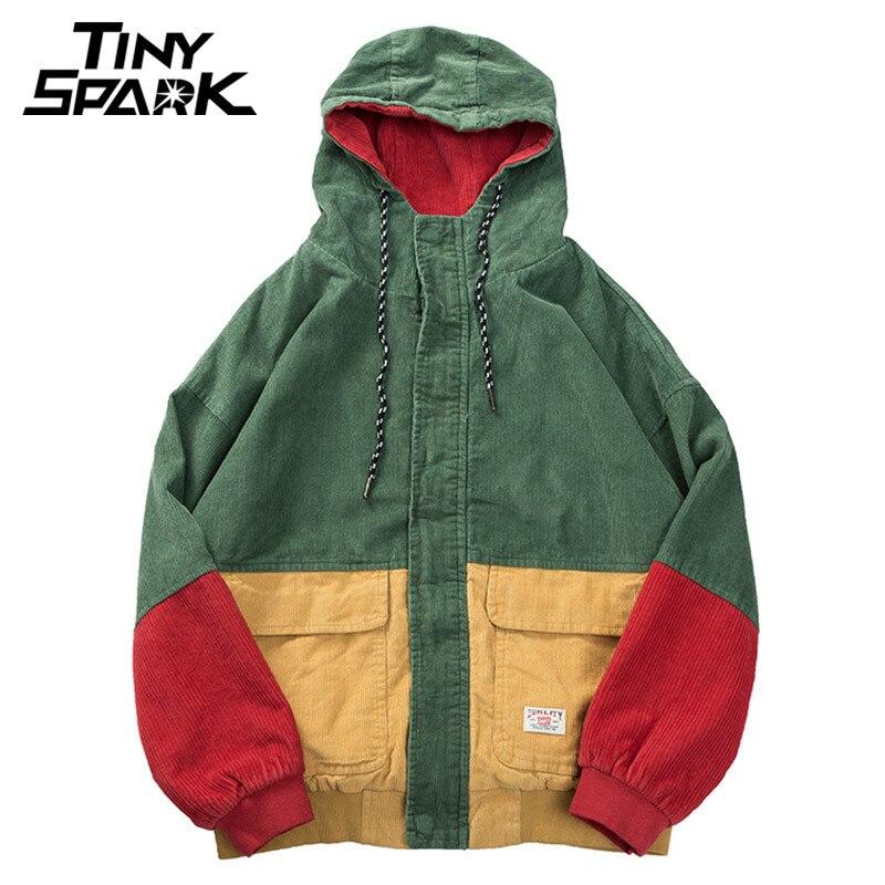 Толстовка в стиле хип-хоп свободные куртки Для мужчин зимняя Вельветовая куртка Harajuku красный лоскутное осень с капюшоном Курточка бомбер п...