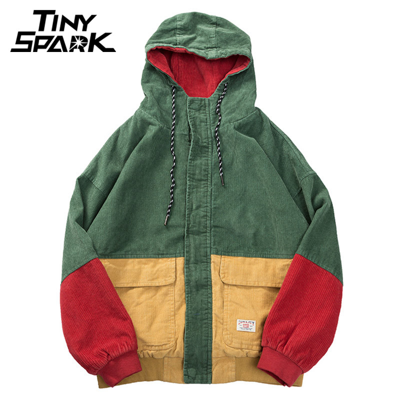 Hip Hop Hoodie Loose Jacket Men Winter Corduroy Jacket Harajuku Red Patchwork Autumn Hooded Bomber Jacket Coat Reggae Jamaica