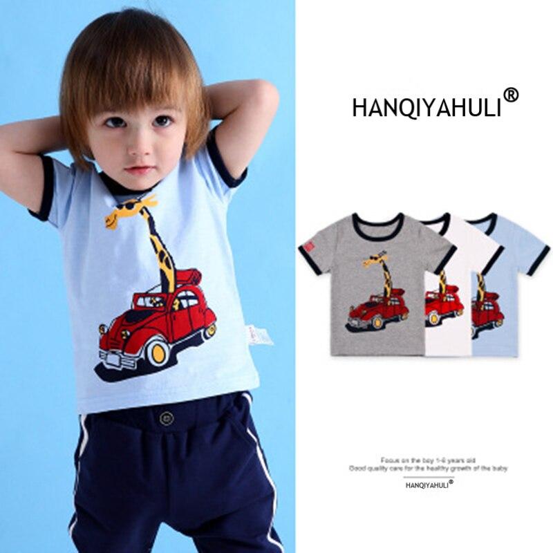 HANQIYAHULI 2018 Summer Boy Cartoon Deer and Car T-shirt 2-6 Year Old - Ubrania dziecięce - Zdjęcie 1