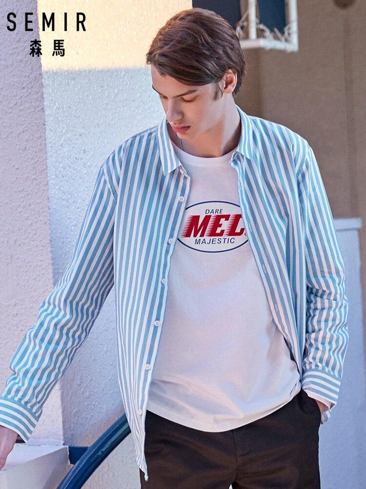 SEMIR Men Striped Shirt Standard Fit Long Sleeve Men's Long-sleeved 100% Cotton Shirt Male Fashion Spring Autumn Casual Tops
