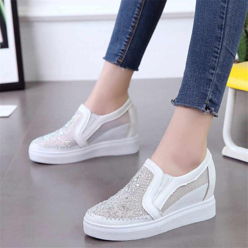Tênis de verão para mulher respirável malha sapatos strass tênis plataforma branco sapatos mulher salto alto tênis