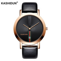 KASHIDUN Mens Watches Top Brand Luxury Sport Quartz Watch Leather Strap Clock Men Waterproof Wristwatch Relogio