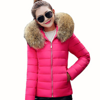 Liva Girl Fashion Autumn Winter Jacket Women Large Faux Fur Collar Hooded Down Cotton Coat Female