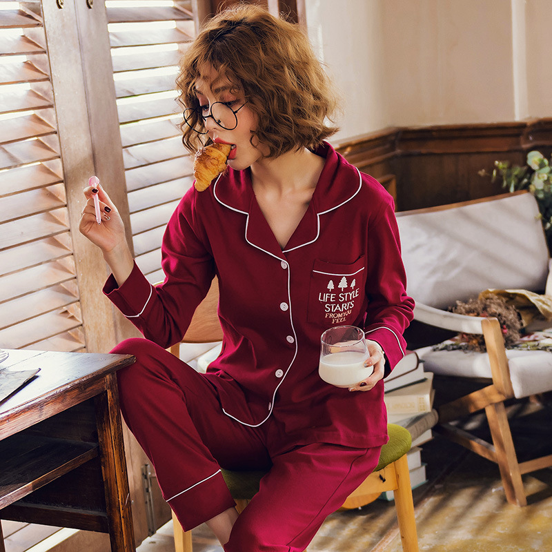 2018 New Autumn Pure Cotton Women Pajamas Long Sleeve Solid