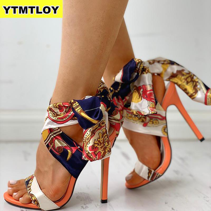 2019 Ribbon Summer Luxury High Heels New Women Pumps Comfort Shoes Sandals Sexy Party Female Peep Toe Gladiator Rome Leisure