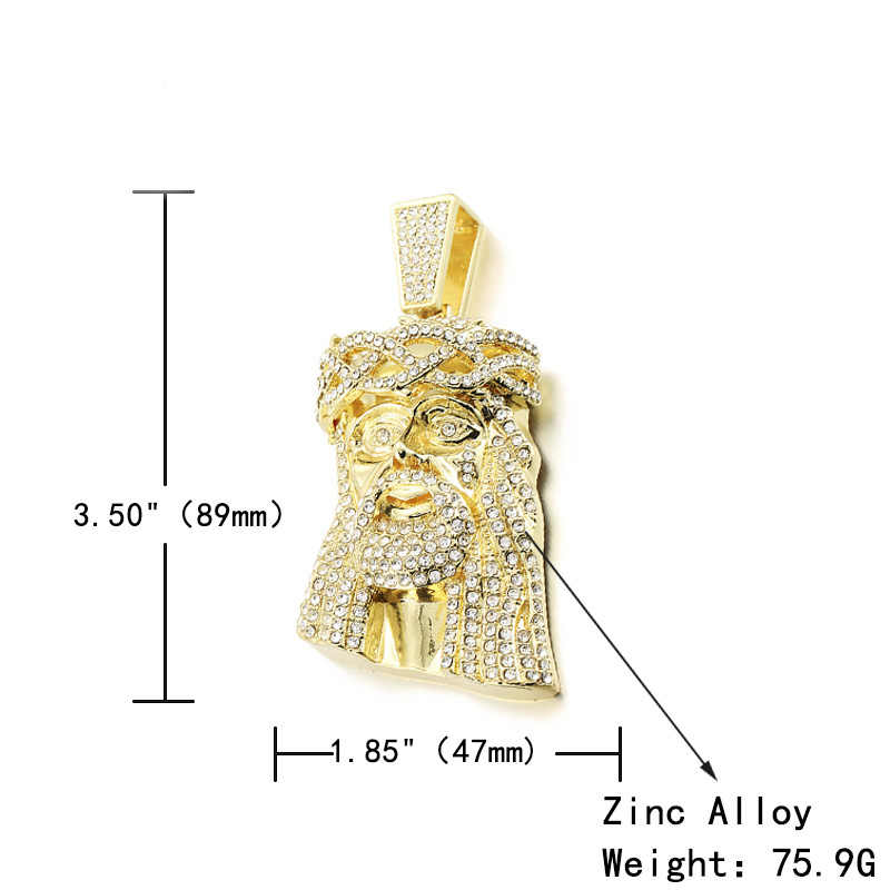ขนาดใหญ่พระเยซูจี้สร้อยคอ Men Ice Out ปู Full Shining คริสตัลพระเยซูหัว Face Gold/Silver Charm สร้อยคอ Hip hop เครื่องประดับ