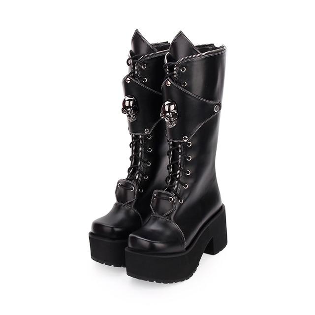 Fashion Winter Women High Heels Platform Lolita Boots Zipper Skull Punk Muffin Shoes Female Large Size Gothic High Boots 1