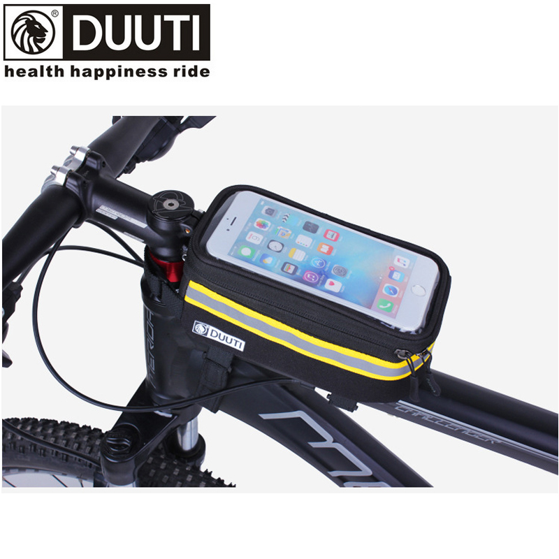 DUUTI Rainproof Bicycle Front Bags Double Zipper MTB Mountain Bike Touch Screen Phone Waterproof Reflective Cycling Accessories