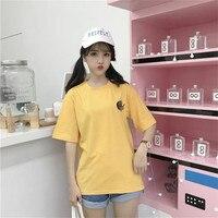 2018 Summer Korea Women S New Ulzzang Top Loose Cartoon Cat Embroidery Harajuku Vadim Plus Size