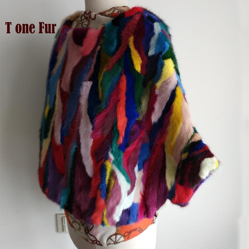 Patchwork Multi Mix Colors Genuine Mink Fur Coat Bat Design Real Mink Fur Jacket Hot Wholesale KSR99