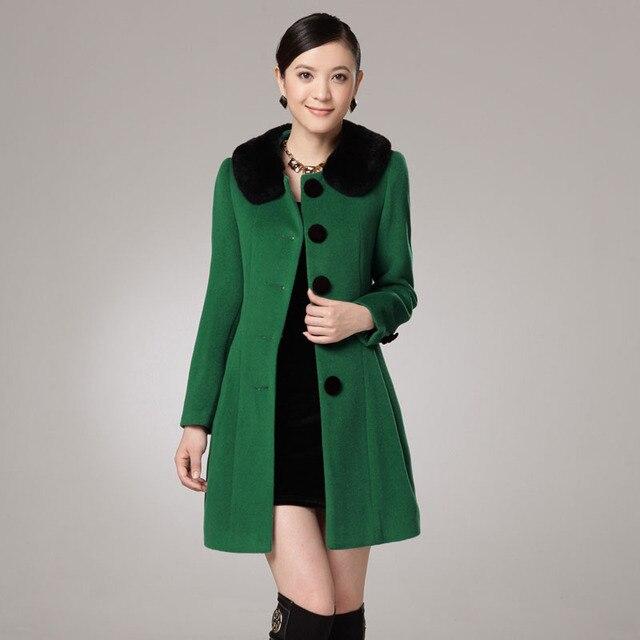 Free shipping 2013 new arrival winter Cashmere overcoat slim rex rabbit hair  women's woolen outerwear