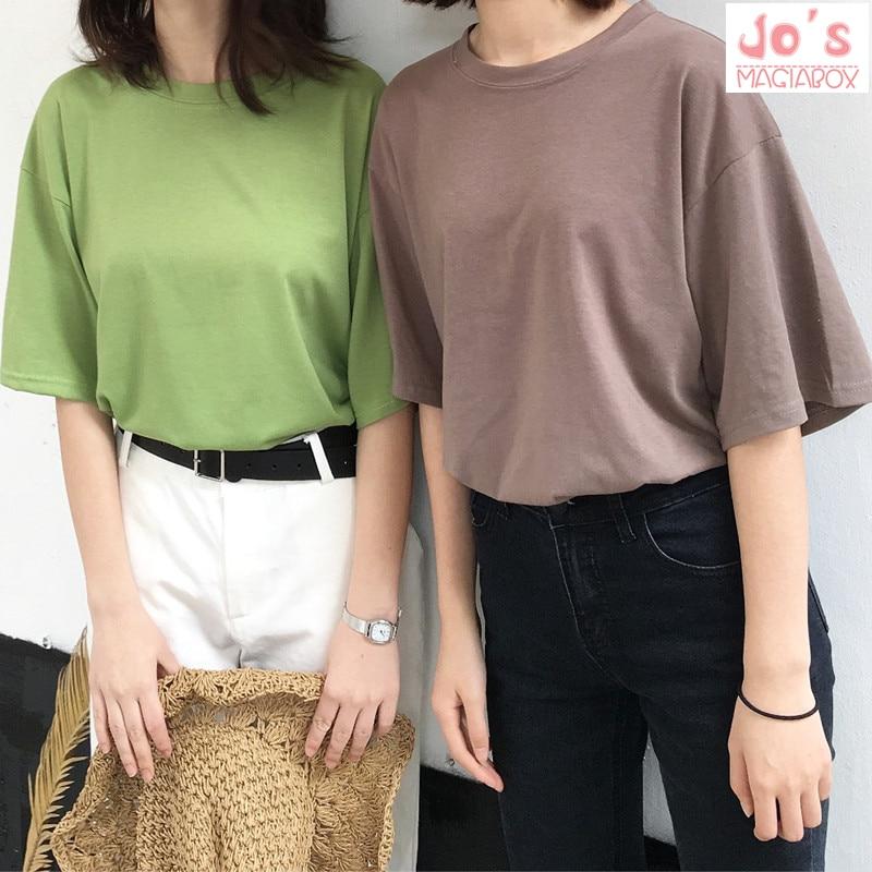 2018 Casual Sólidos Senhoras Preto de Algodão Branco Camisa Oversize T Mulheres Camisetas Plus Size Manga Curta O-pescoço DX612