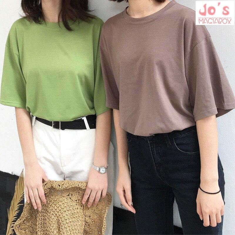 2018 casual sólido senhoras preto branco algodão oversize t camisa feminina tshirt plus size manga curta o-pescoço dx612