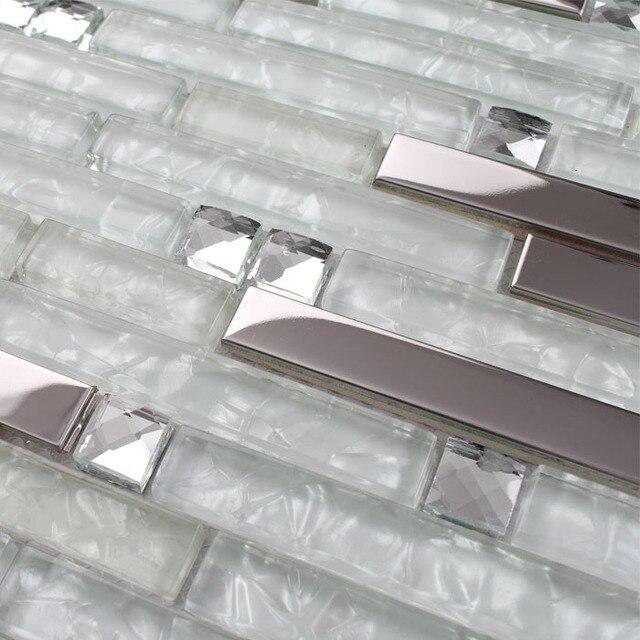 Streifen Silber Edelstahl Gemischt Klar Glasmosaik Fliesen Für Küche  Backsplash Badezimmer Wand Dusche Fliesen Flur Fliesen