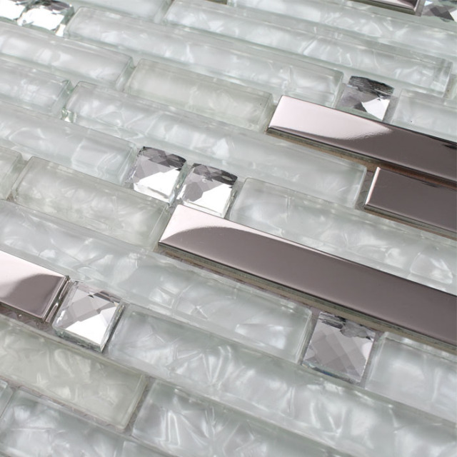 Strip Silver Stainless Steel Mixed Clear Glass Mosaic Tiles For