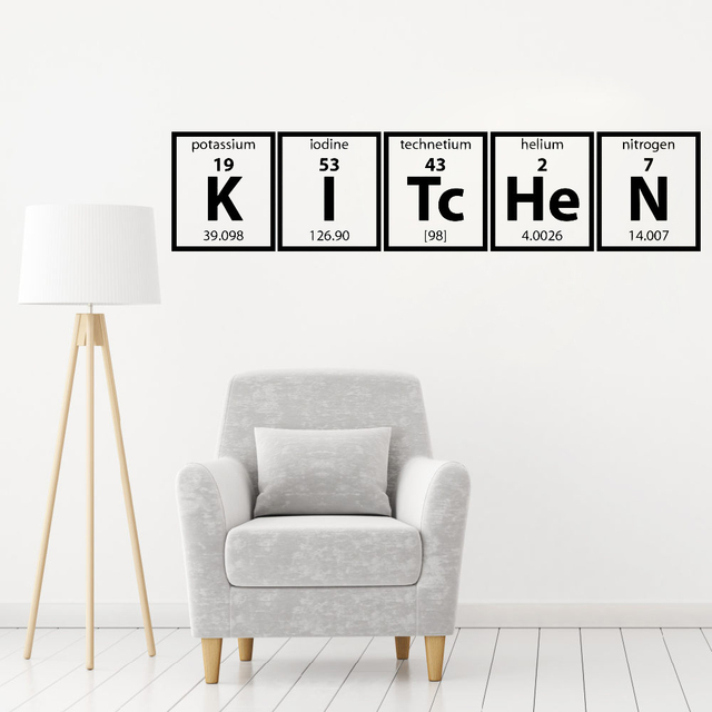 New Periodic Table Of Elements Series Wall Sticker For Kitchen Cooking Vinyl Lettering Family Decal