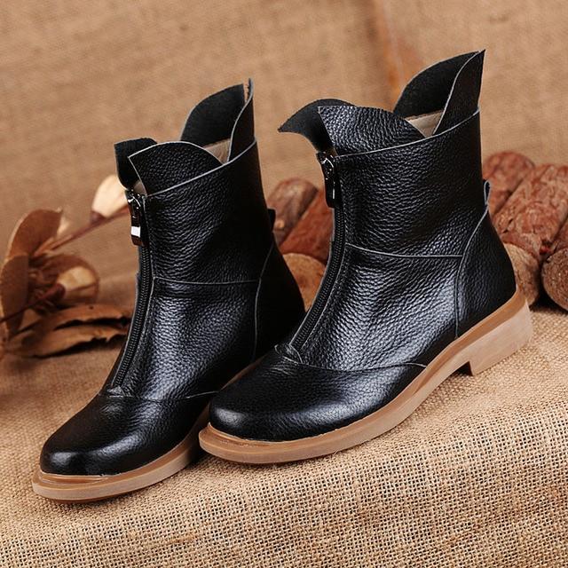 Leather Women's Square Toe Chunky Heel Classic Handmade Mid Calf Boot