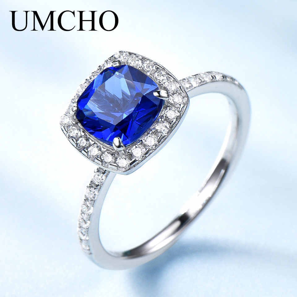 UMCHO สร้างพลอย Birthstone แหวน 925 เงินสเตอร์ลิงเครื่องประดับสำหรับผู้หญิงกันยายนของขวัญวันเกิดเครื่องประดับ