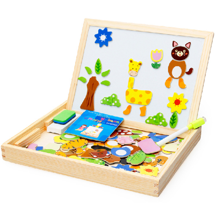 Hot Children Kids Wood Educational Puzzle Toys Magnetic 3D Wooden Drawing Board