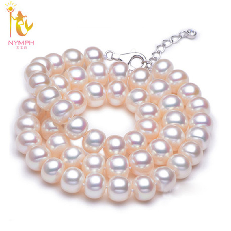 [NYMPH] Pearl Jewelry Natural Freshwater Pearl Necklace Choker Necklace Fine Jewelry For Women[QQ] [nymph ]natural pearl necklace pearl jewelry white freshwater choker necklace trendy for wedding party fine jewelry x120