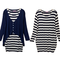 2PCS Maternity Dresses Knitted Cardigan+Dresses Tops Set Pregnancy Clothes Plus Size Stripe Dress dresses For Pregnant