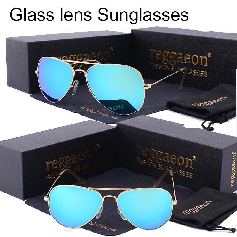 reggaeon Luxury brand glass lens aviator sunglasses women Men Anti-glare driving Pilot hot rays sunglasses 3025 Color blue
