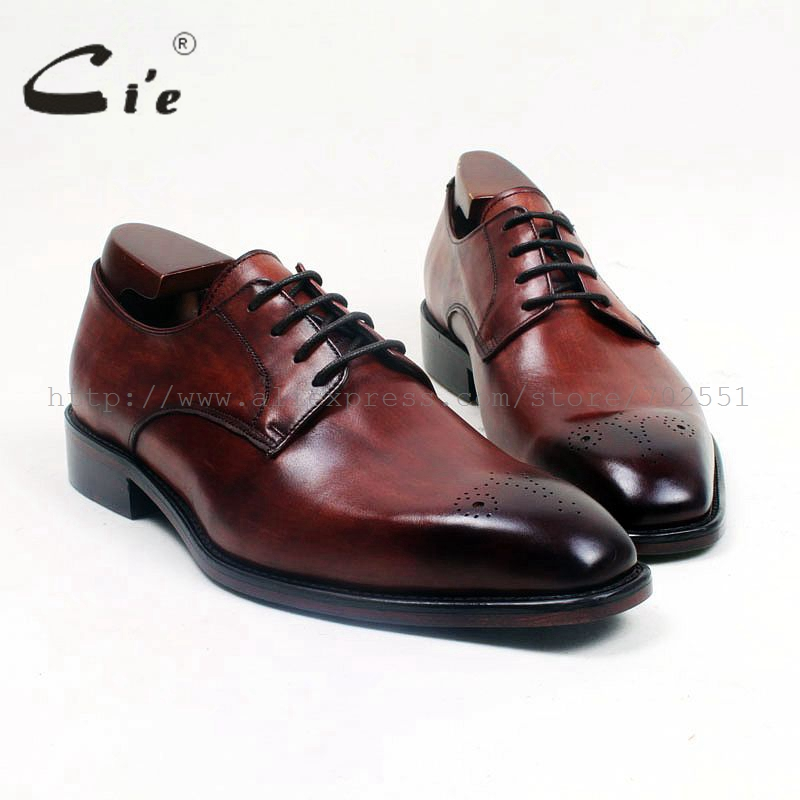 cie Square Toe Lace-Up Hand-Painted Brown Patina Handmade100%Genuine Calf Leather Outsole Breathable Derby Men Flats Shoe D164 купить часы haas lt cie mfh211 zsa