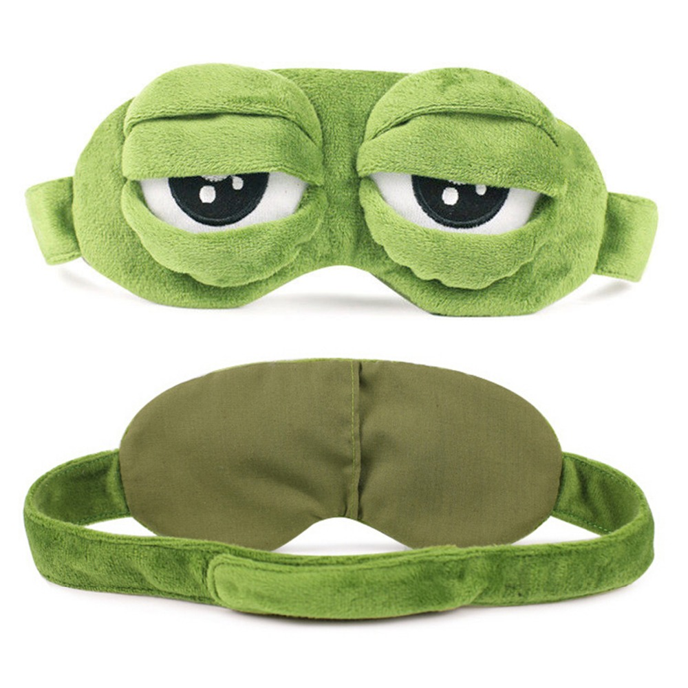 Cute 3D Frog Eye Mask for Sleeping Rest Travel Relax Sleeping Aid Blindfold Ice Cover Eye Patch Sleeping Mask