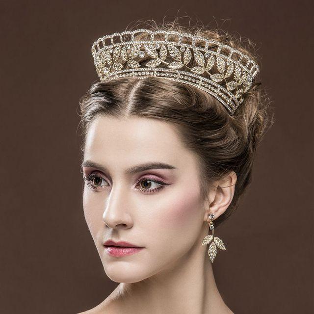 Royal queen leaves tiara bridal crystal tiara crown earrings bride gold crowns tiaras vintage wedding hair jewelry accessories