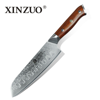 XINZUO 7 Inch Japanese Chef Knife Damascus Steel Kitchen Knife Professional Santoku Knife For Hotel Or