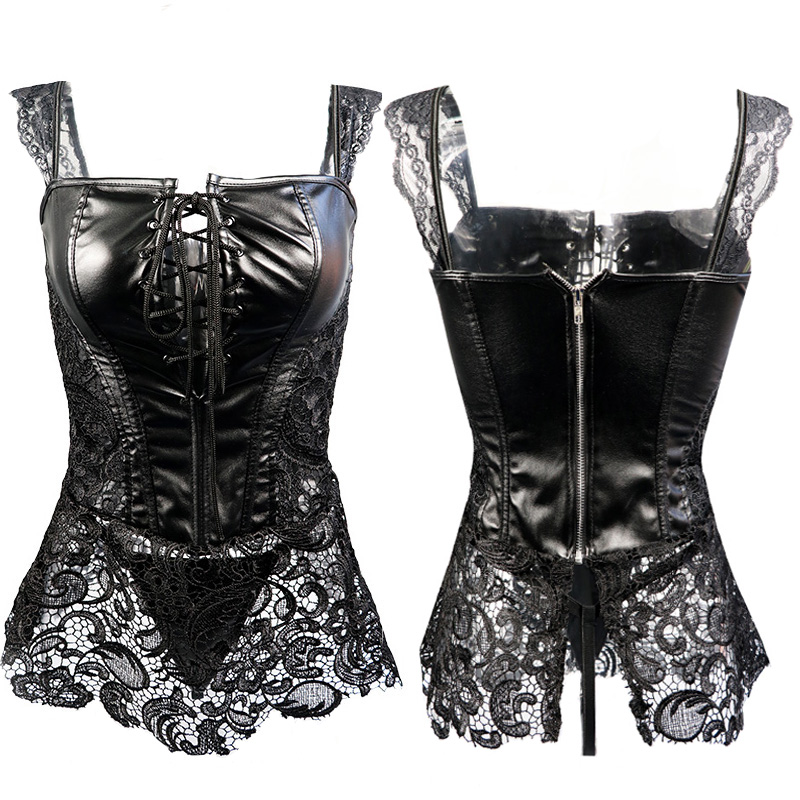 b295567d9 Fashion Sexy Women Corset With Thong 2019 Faux Leather Black Lace Shaper  Bustier Plus Size S