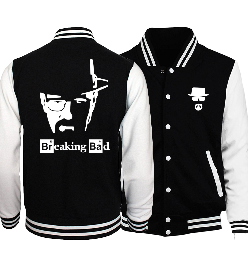 Breaking Bad Heisenberg Jacket Men Graphics Design Print Baseball Jackets Mens 2018 Autumn Hip Hop Workout Coat Plus Size 5XL