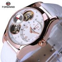 Forsining Luxury Watch Women Rose Gold Women Watches Luxury Brand 2018 Leather Automatic Mechanical Watch Women Clock