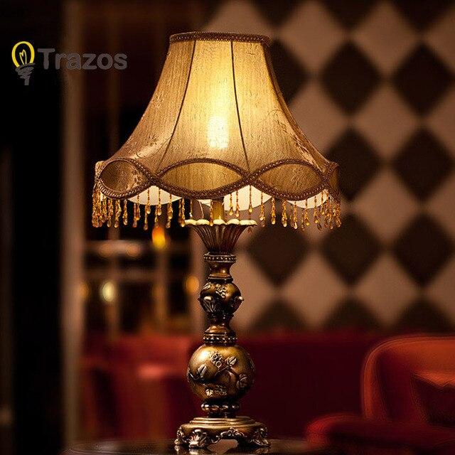 New Bedding Art Decor Ceramic Table Lamp Decorative Green Vase Desk Light Home Luminaria de Mesa Fabric Shade 110V~220V