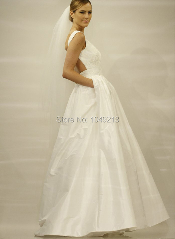Affordable Simple Backless Open Back Ivory Taffeta Pockets A Line