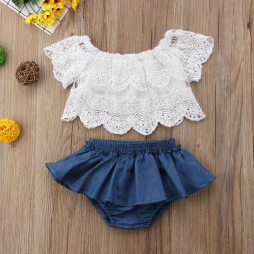 d79d72ac1 Verano Braga bebé niña ropa conjunto niños camiseta Floral Blusa de encaje  Tops + de pantalones