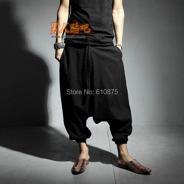 Venta caliente Del Verano masculino de lino fino tobillo pantalones de la longitud pantalones harem personalidad grandes pantalones entrepierna pantalones de baja altura