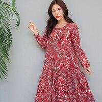 2018 New Women Spring Autumn Dress Retro Printing Full Sleeves O Neck Long Dresses Indie Folk