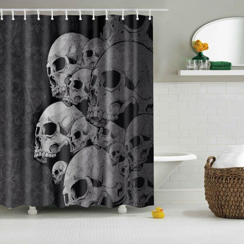 Waterproof Shower Curtain Bathroom Decor Decorations Punk Skull Polyester Bath Curtain Bathroom Product China